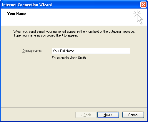 Setting up email in Outlook Express - Step 3