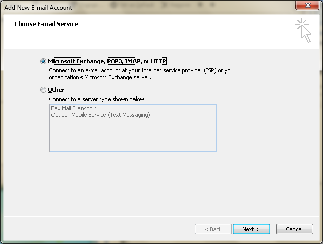 Setting up email in Microsoft Outlook - Step 3