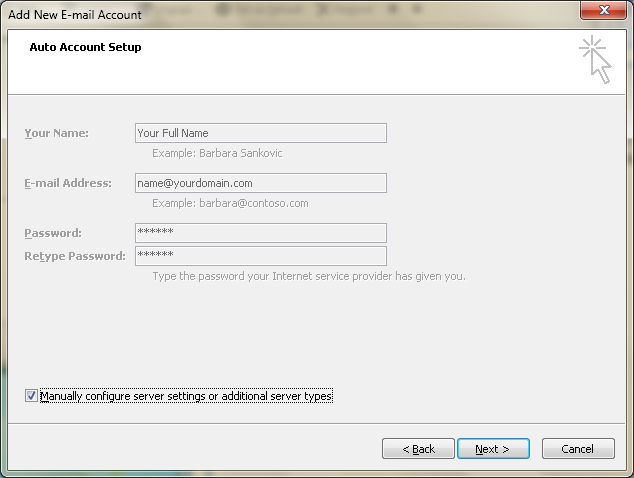 Setting up email in Microsoft Outlook - Step 5