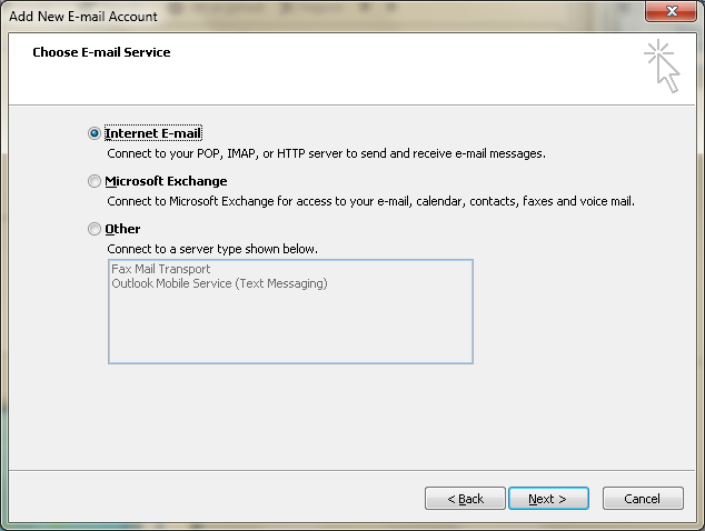 Setting up email in Microsoft Outlook - Step 6