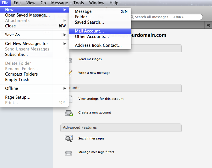 Setting up email in thunderbird - Step 1