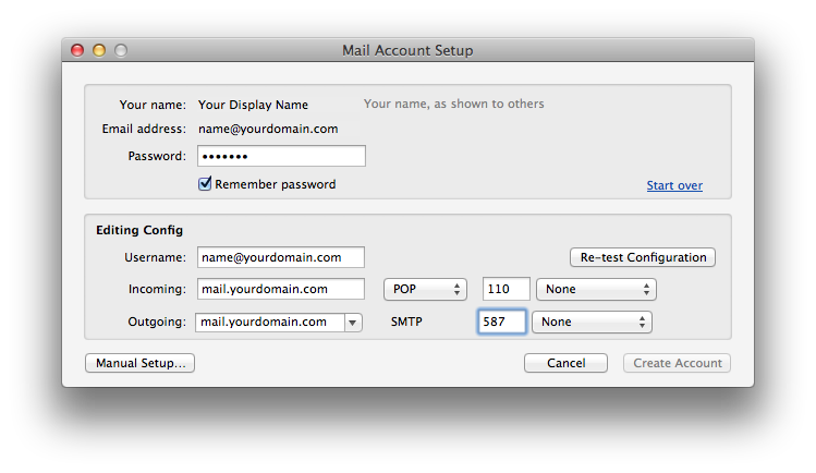 Setting up email in thunderbird - Step 3